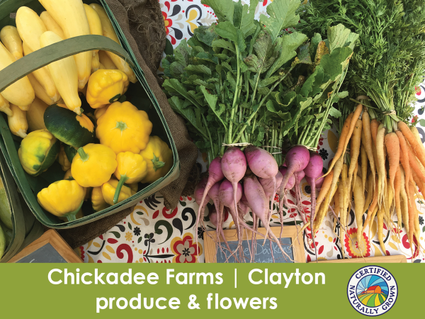Chickadee Farms, Clayton, produce & flowers