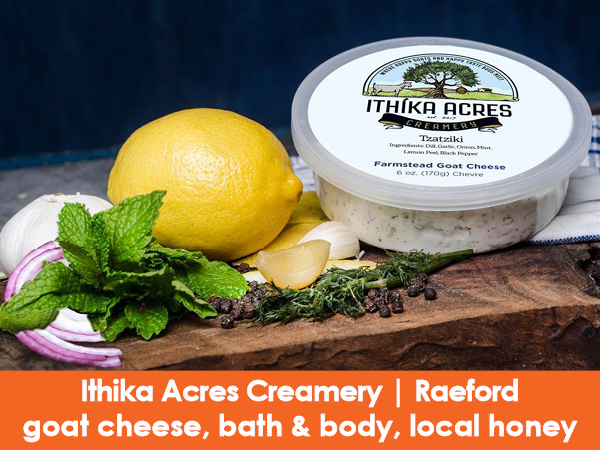 Ithika Acres Creamery, Raeford, goat cheese, local honey, bath & body products
