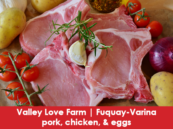 Valley Love Farm, Coats, pork, chicken, and eggs