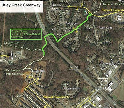 Map of Utley Creek greenway alignment