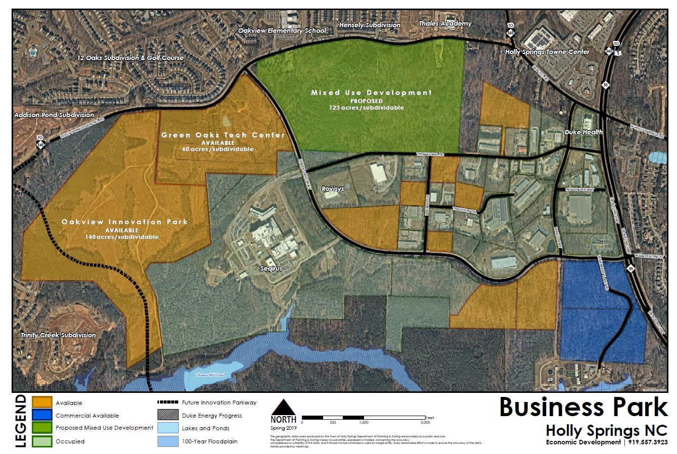 holly springs business park map showing all parcels and color coded to show available properties and