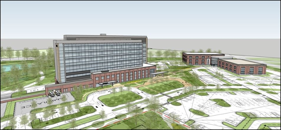 a rendering of what the 7 story hospital building will look like once constructed