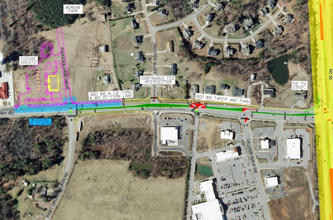 Map of Avent Ferry widening from 55 to Ralph Stephens