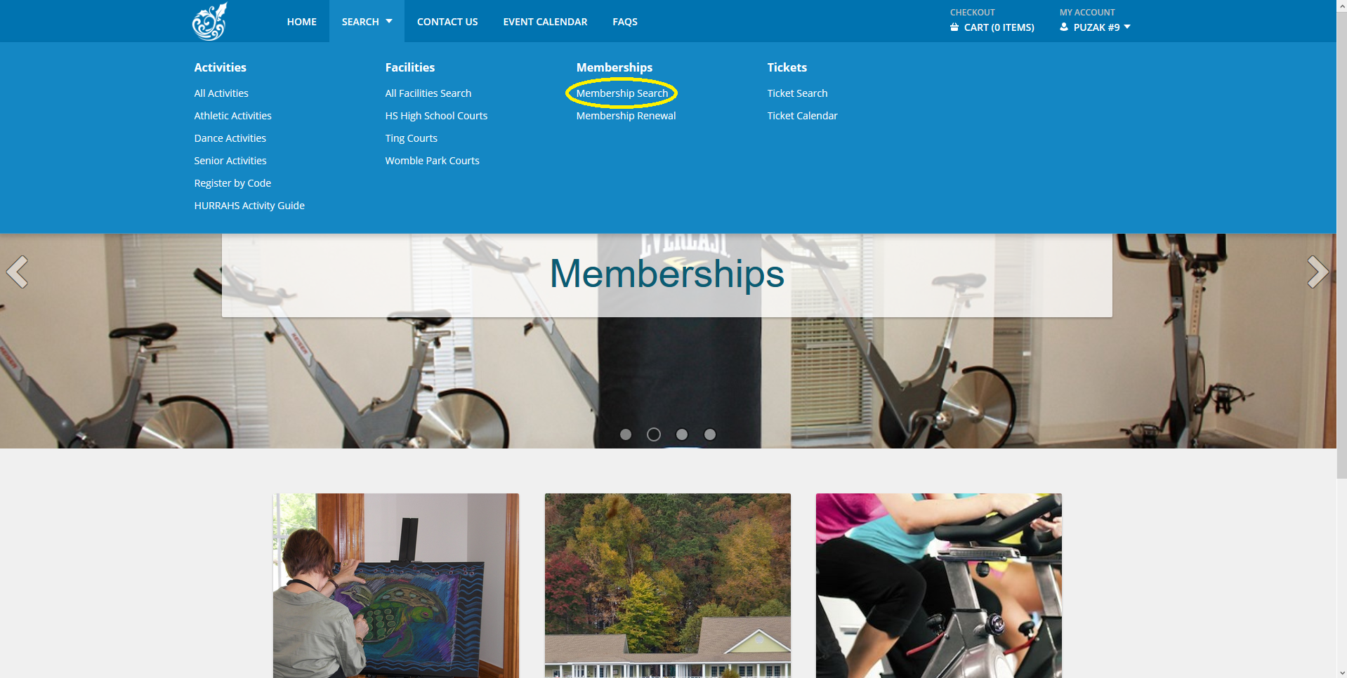 1. Fitness Membership Search
